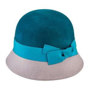 Wool color block cloche with grosgrain bow-0