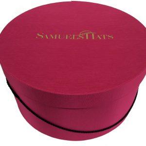 "17"" Cerise Bengaline Fabric Hat Box -0"