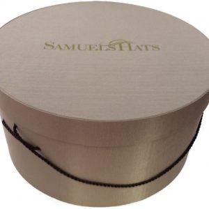 """14 3/4"""" Pecan Shell Bengaline Fabric Hat Box -0"""